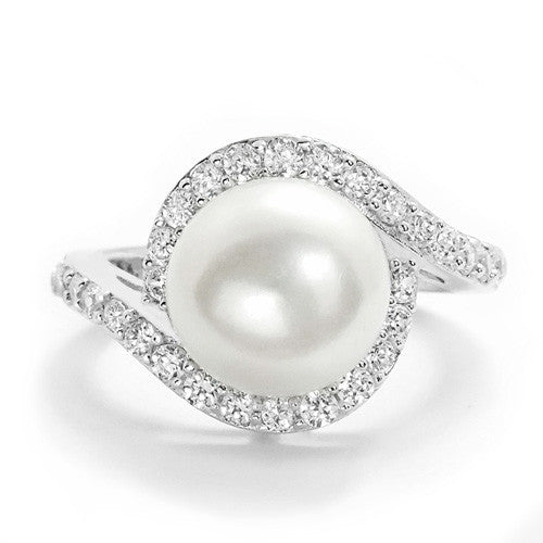 Classic Sterling Silver Pearl and CZ Ring