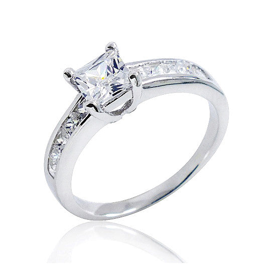 Gorgeous 925 Sterling Silver Princess Cut Cubic Zirconia Ring