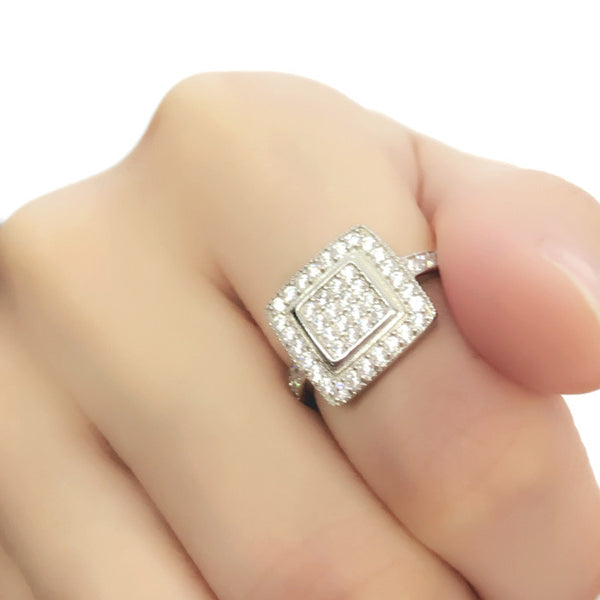 Sterling Silver Cubic Zirconia Square Cluster Ring - Jewelry - Prjewel.com - 1