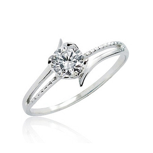 Unique 925 Sterling Silver 0.8 Carat CZ Fashion Solitaire Ring - Jewelry - Prjewel.com - 1