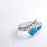 925 Sterling Silver Synthetic Opal Ring 14 mm - Jewelry - Prjewel.com - 2