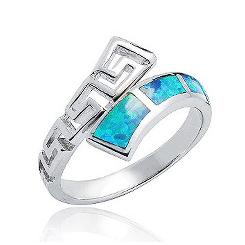 925 Sterling Silver Synthetic Opal Ring 14 mm