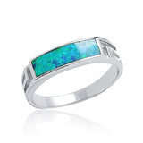 925 Sterling Silver Synthetic Opal Ring 5 mm - Jewelry - Prjewel.com - 1