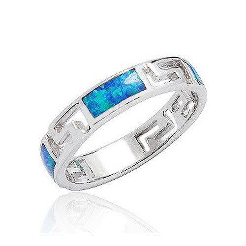 925 Sterling Silver Synthetic Opal Ring 4mm
