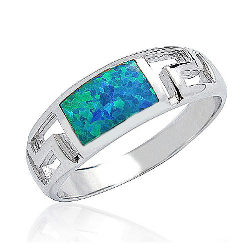 925 Sterling Silver Synthetic Opal Ring 7mm