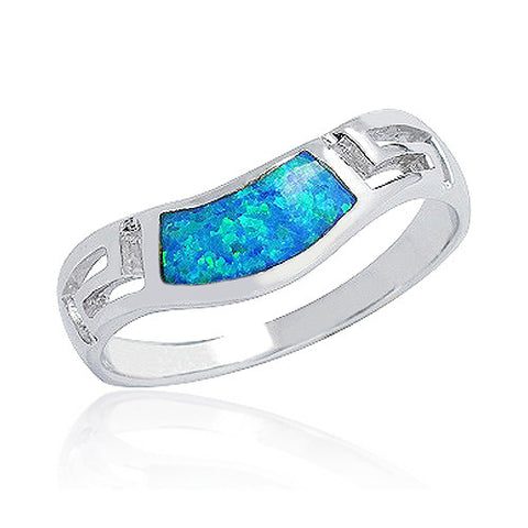 925 Sterling Silver Synthetic Opal Ring 8.5mm - Jewelry - Prjewel.com - 1
