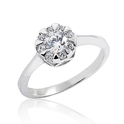 Fashion CZ 925 Sterling Silver Solitaire Ring 7mm