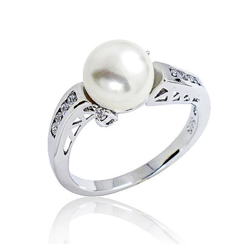 Channel Settings CZ Fancy 925 Silver Pearl Ring - Jewelry - Prjewel.com - 1