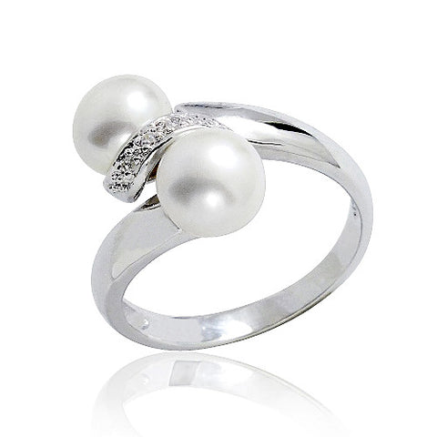 Unique 925 Sterling Silver 7-8mm Pearl CZ Ring - Jewelry - Prjewel.com - 1