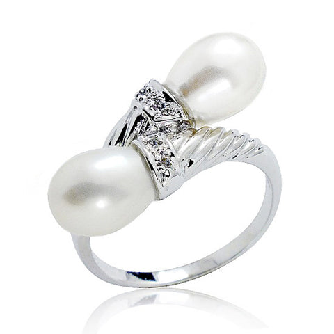 925 Sterling Silver Graceful 7-8mm Pearl CZ Ring - Jewelry - Prjewel.com - 1