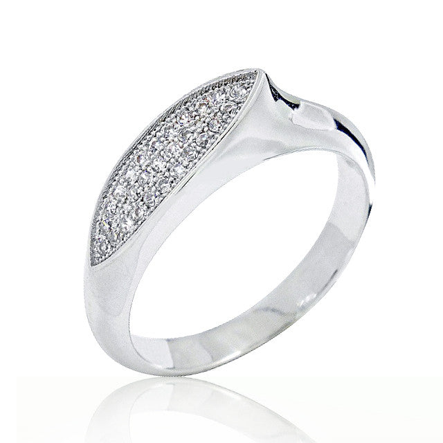 Fancy 925 Sterling Silver Micro Pave Setting Cubic Zirconia Ring - Jewelry - Prjewel.com - 1