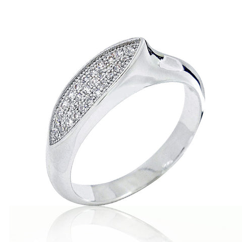 Fancy 925 Sterling Silver Micro Pave Setting Cubic Zirconia Ring