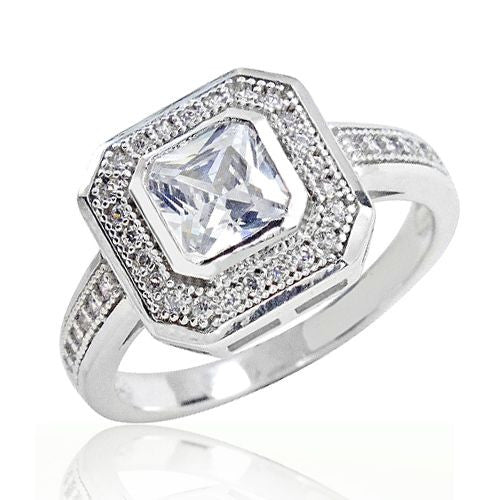 Micro Pave Set 925 Sterling Silver Elegant Octagonal Cut CZ Ring - Jewelry - Prjewel.com - 1