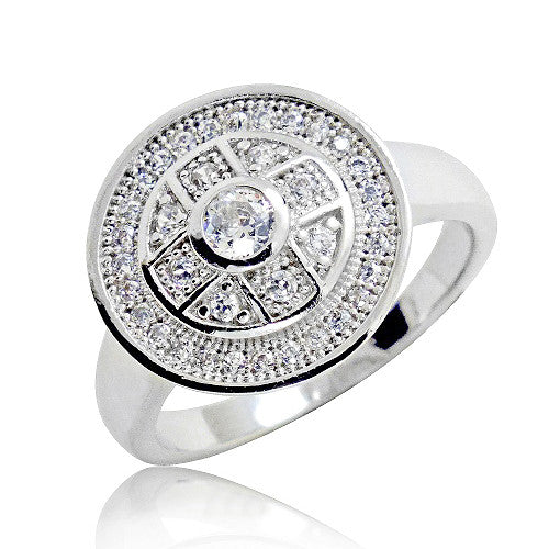 Unique 925 Sterling Silver Micro Pave Setting 1.3 Ct Cubic Zirconia Ring - Jewelry - Prjewel.com - 1