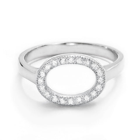 Sterling Silver Cubic Zirconia Circular Ring - Jewelry - Prjewel.com - 1