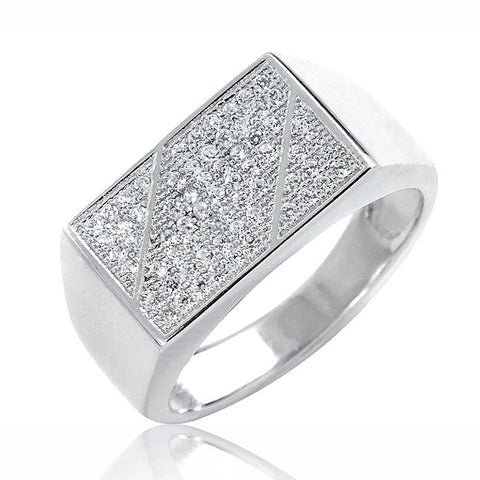 925 Sterling Silver Micro Pave Setting CZ Ring Graceful