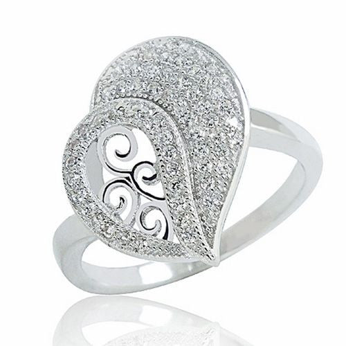 Sterling Silver Micro Pave Setting Cubic Zirconia Elegant Heart Ring - Jewelry - Prjewel.com - 1