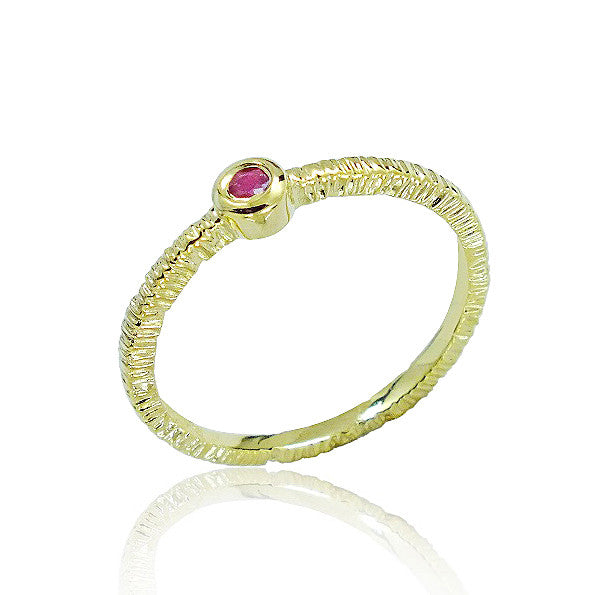 Fancy Gold Plated 925 Sterling Silver Ruby Ring