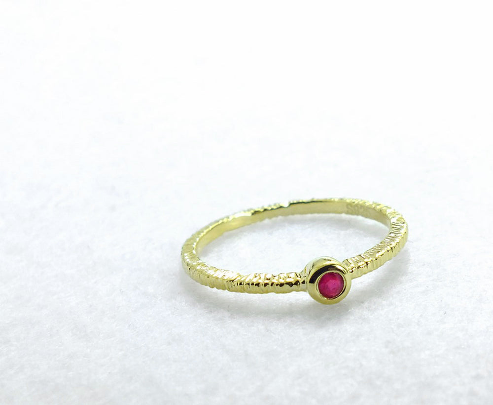 Fancy Gold Plated 925 Sterling Silver Ruby Ring - Jewelry - Prjewel.com - 2