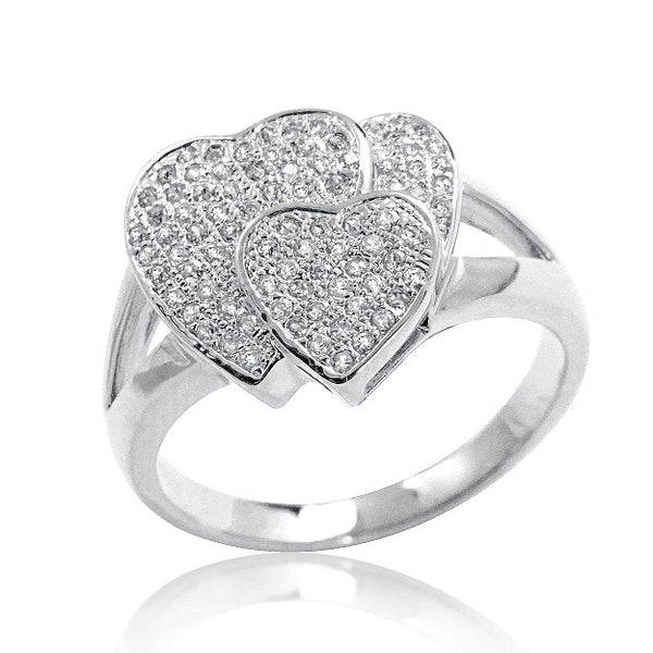 925 Sterling Silver Micro Pave Setting Cubic Zirconia 3 Heart Ring