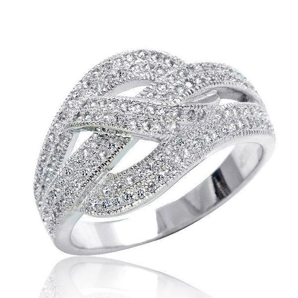 Stunning 925 Sterling Silver Micro Pave Setting CZ Ring - Jewelry - Prjewel.com - 1