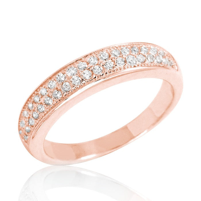 Beautiful Pave CZ Rose Gold Plated 925 Sterling Silver Ring - Jewelry - Prjewel.com - 1
