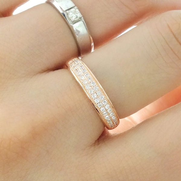 Beautiful Pave CZ Rose Gold Plated 925 Sterling Silver Ring - Jewelry - Prjewel.com - 2