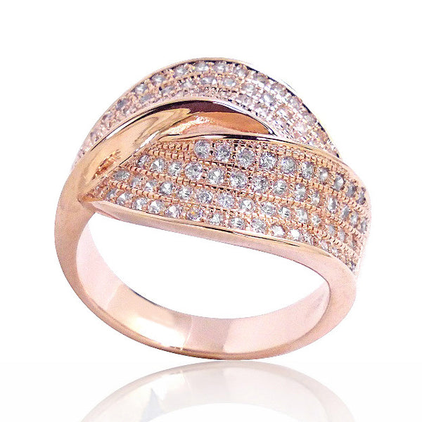 Gorgeous Micro Setting CZ Rose Gold Plated Sterling Silver Ring - Jewelry - Prjewel.com - 1