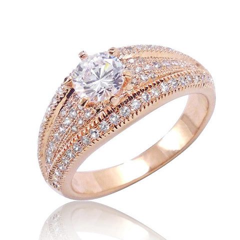Brilliant Cut & Micro Pave Setting CZ Rose Gold Over 925 Silver Ring - Jewelry - Prjewel.com - 1