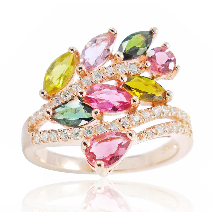 Graceful Rose Gold Plated 925 Silver 2.3 Ct Natural Tourmaline Ring - Jewelry - Prjewel.com - 1