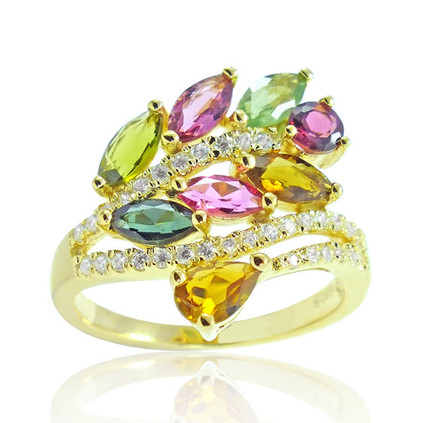 Graceful Gold Plated 925 Silver 2.3 Ct Natural Tourmaline Ring - Jewelry - Prjewel.com - 1