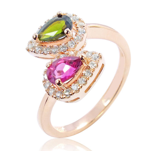 Beautiful Rose Gold Plated 925 Sterling Silver 0.6 Ct Natural Tourmaline Ring