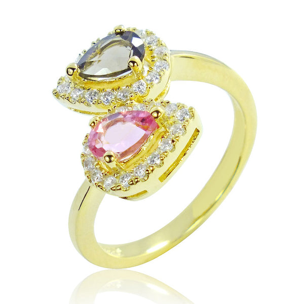 Beautiful Gold Plated 925 Sterling Silver 0.6 Ct Natural Tourmaline Ring - Jewelry - Prjewel.com - 1