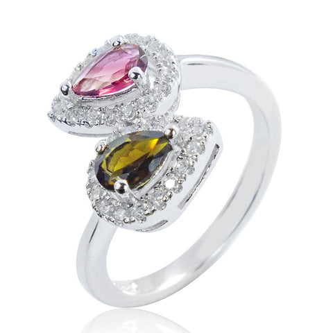 Beautiful 925 Sterling Silver 0.6 Carat Natural Tourmaline Ring
