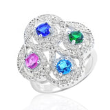 Graceful 925 Sterling Silver Multi-color Crystal Cubic Zirconia Ring - Jewelry - Prjewel.com - 1
