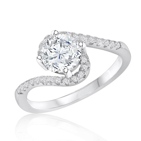Stunning 925 Sterling Silver Brilliant Cut Cubic Zirconia Ring - Jewelry - Prjewel.com - 2