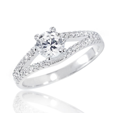Sterling Silver Brilliant Cut 1.4 Carat Cubic Zirconia Ring - Jewelry - Prjewel.com - 1