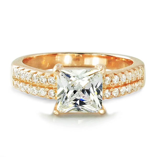 Princess Cut CZ Rose Gold Plated 925 Sterling Silver Ring