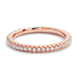 CZ Rose Gold Plated Sterling Silver Eternity Band Ring