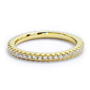 CZ Gold Plated Sterling Silver Eternity Ring