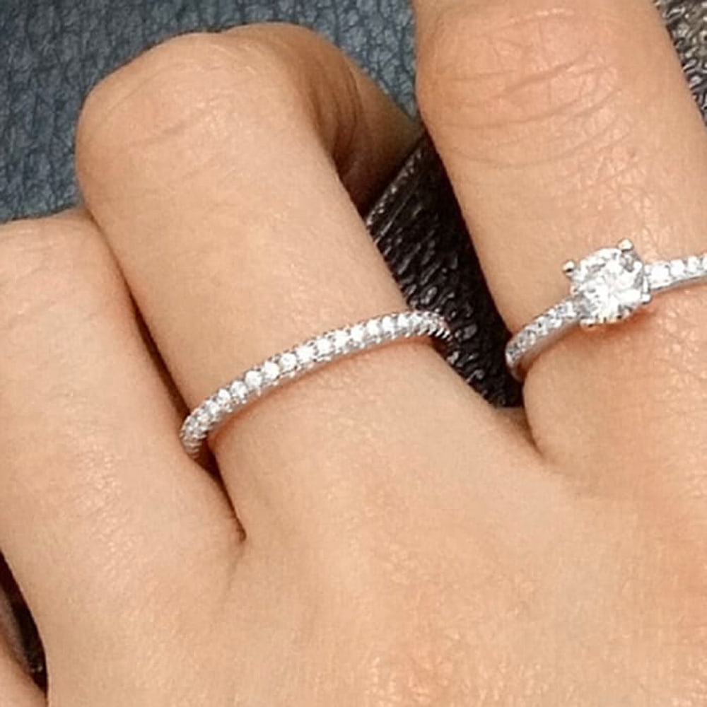 Cubic Zirconia Sterling Silver Eternity Ring 2