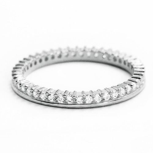 Cubic Zirconia 925 Sterling Silver Eternity Fancy Band Ring - Jewelry - Prjewel.com - 1