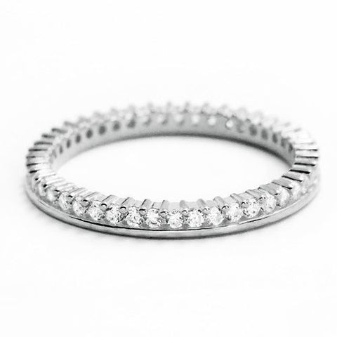 Cubic Zirconia 925 Sterling Silver Eternity Fancy Band Ring