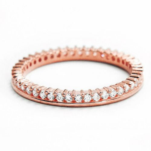 Cubic Zirconia Rose Gold Plated 925 Silver Eternity Fancy Band Ring - Jewelry - Prjewel.com - 1