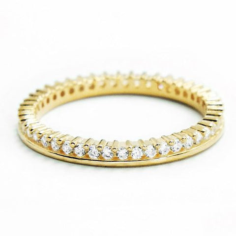 Cubic Zirconia Gold Plated 925 Silver Eternity Fancy Band Ring