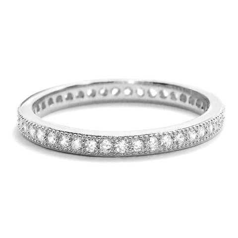 Cubic Zirconia 2mm 925 Sterling Silver Eternity Ring