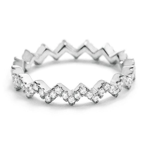 Sterling Silver Cubic Zirconia Eternity Fashion Band Ring