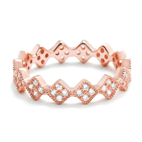 Fancy Rose Gold Plated Silver Eternity Ring