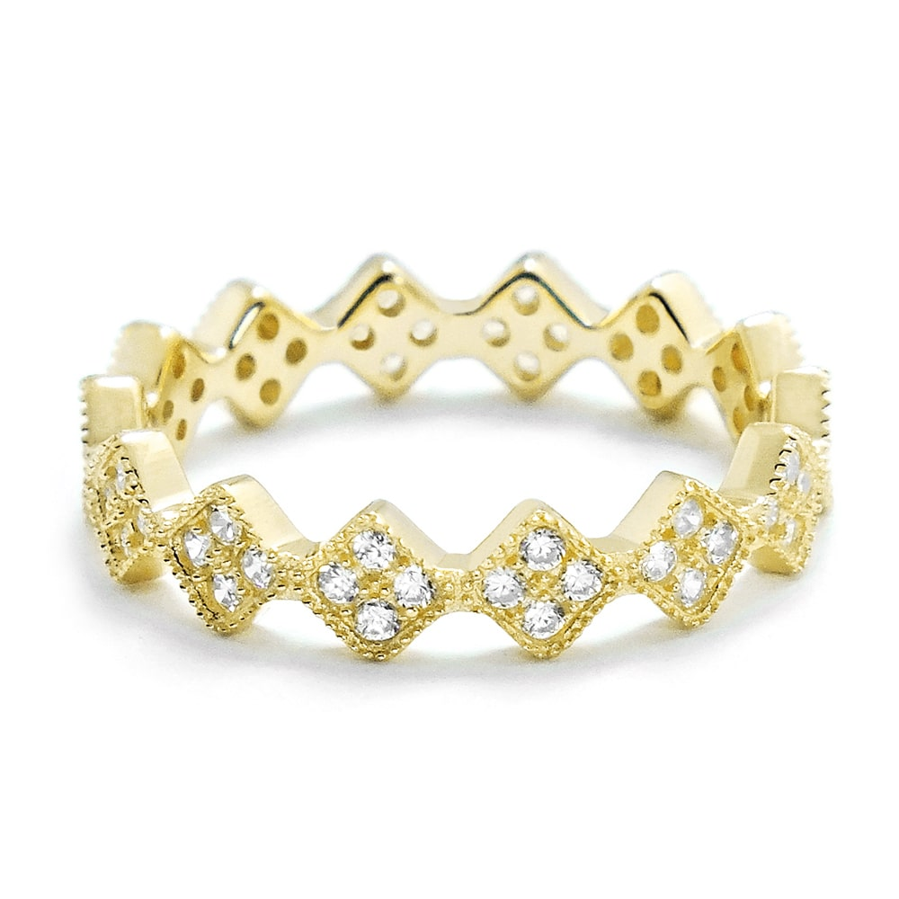 Fancy CZ 18K Gold Plated Silver Eternity Ring