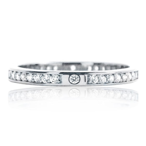 Beautiful 2.2mm Sterling Silver Cubic Zirconia Eternity Ring - Jewelry - Prjewel.com - 1